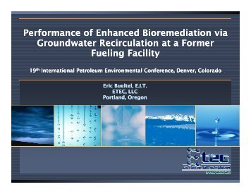 Performance of Enhanced Bioremediation via Groundwater ... - IPEC