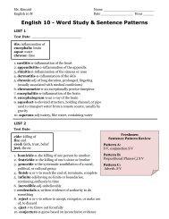 English 10 - Word Study & Sentence Patterns