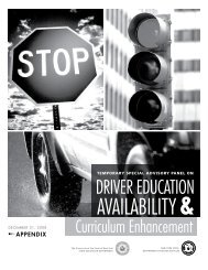temporary special advisory panel on driver education availability