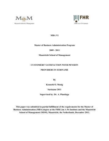 Master of business administartion and thesis