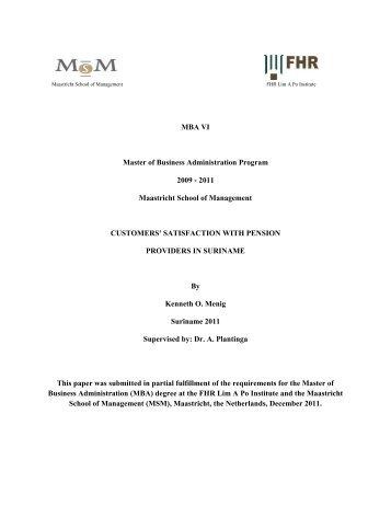 MBA VI Master of Business Administration Program 2009 ‐ 2011 - FHR