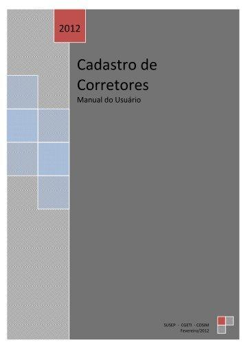 Manual Cadastro Corretores - Susep