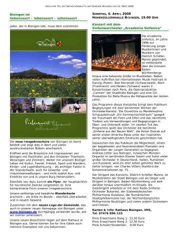 Bisingen ist liebenswert – lebenswert – sehenswert Konzert mit dem ...