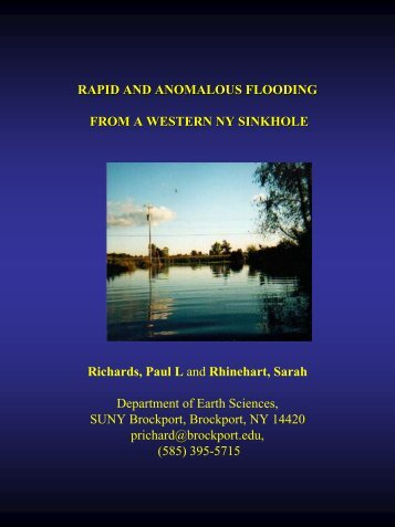 rapid and anomalous flooding from a western ny sinkhole