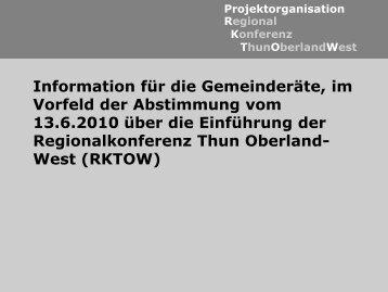 ThunOberlandWest Konferenz Regional Projektorganisation