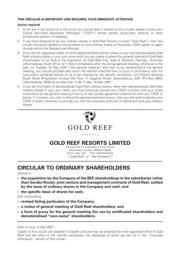 circular to ordinary shareholders