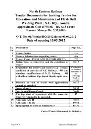 North Eastern Railway Tender Documents for Inviting Tender for ...
