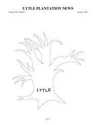 LYTLE PLANTATION NEWS - Freepages