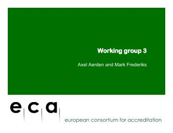 Working group 3 - ECA