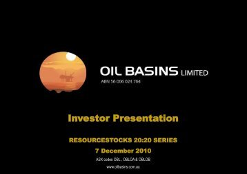 Investor Presentation - Oil Basins Limited