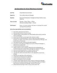 Driver-Warehouse Assistant - Bicester Plumbing - John Nicholls