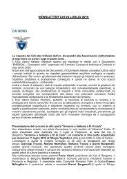 NEWSLETTER CAI 05 LUGLIO 2010 CAI NEWS - Club Alpino Italiano