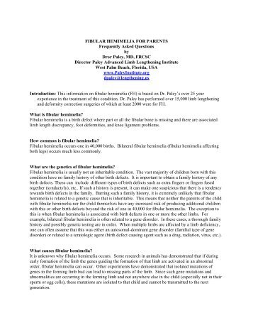 Fibular Hemimelia FAQs - Limb Lengthening