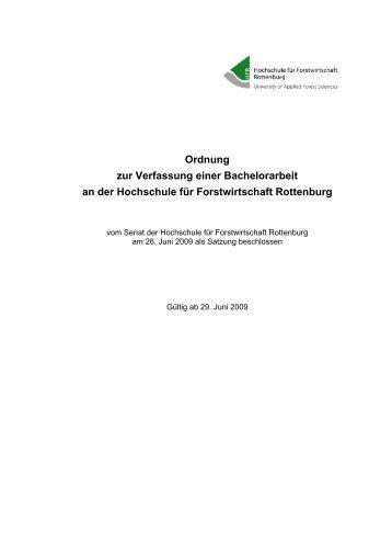 Ordnung zur Verfassung einer Bachelorarbeit an der Hochschule für ...