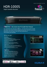HDR-1000S - HUMAX UK Direct Sales Website