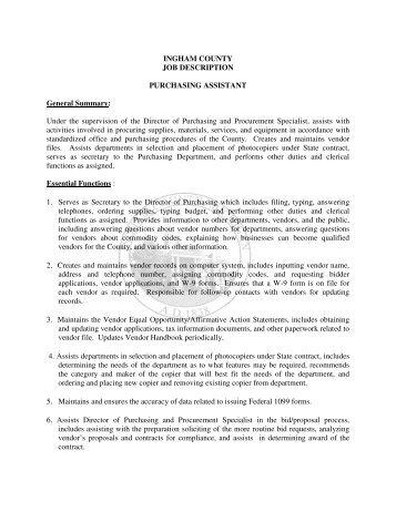 Ingham County Job Description Purchasing Clerk