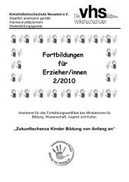 Fortbildungen für Erzieher/innen 2/2010 - Kreis-Volkshochschule ...