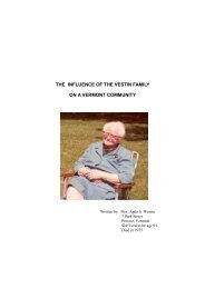 the influence of the vestin family on a vermont community - Freepages