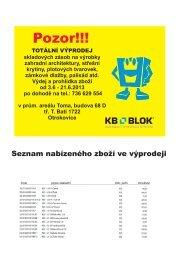 Orientační přehled skladovaných výrobků k 31.5.2013