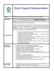 Donor Support Representative - Plan Canada