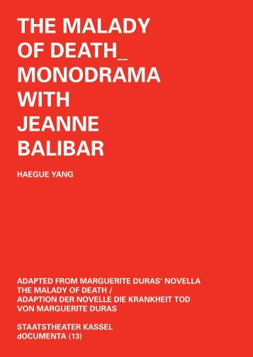 The Malady of deaTh_ MonodraMa wiTh Jeanne BaliBar