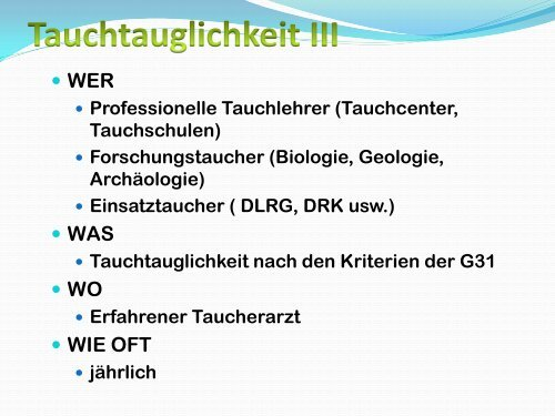 Tauchmedizinische Untersuchung - LTVT