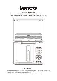 USER MANUAL DVD/MPEG4/CD/MP3/ PLAYER /DVB-T tuner - Lenco