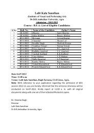 BFA and MFA Admission 2012-13 - Dr BR Ambedkar University