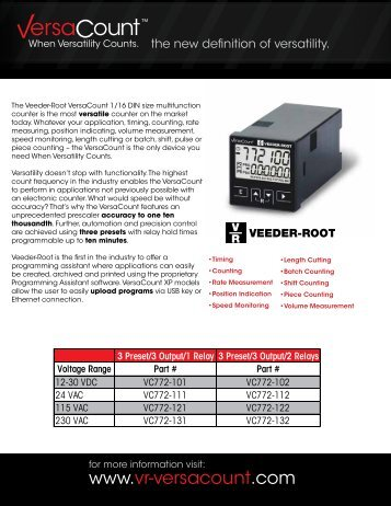 VC772 Data Sheet - Danaher Specialty Products