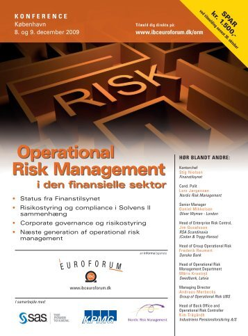 operational risk Management i den finansielle sektor - IBC Euroforum