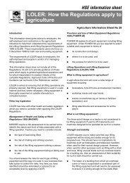 HSE LOLER regulations factsheet - Brian Robinson Machinery