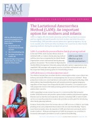 The Lactational Amenorrhea Method (LAM): An important option for ...