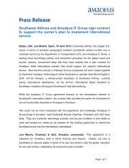 Southwest Airlines and Amadeus IT Group sign contract to support ...