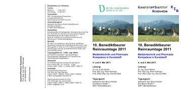 10. Benediktbeurer Reinraumtage 2011 Medizintechnik und ...