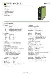 G2ZM20 Timers - Multifunction Technical data