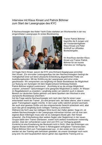 Interview mit Klaus Kinast und Patrick Böhmer ... - Kieler Yacht-Club