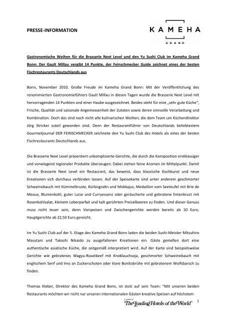 PRESSE-INFORMATION - Kameha Grand Bonn