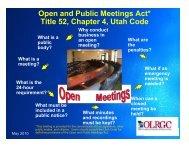 Open and Public Meetings Act Presentation - Utah State Legislature