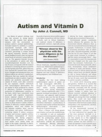 Autism and Vitamin D - Articles