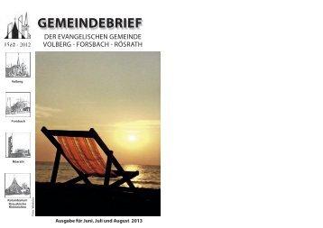 Gemeindebrief von Juni bis August 2013 - Evangelische Gemeinde ...