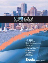 Brede Exposition Services - Exhibitor's guide - CHI 2009