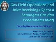 Teknologi Pemrosesan Gas (TKK 564) Instructor: Dr. Istadi (http ...