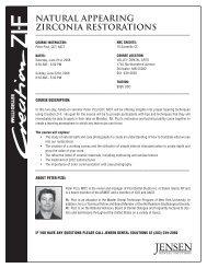 NATURAL APPEARING ZIRCONIA RESTORATIONS - Jensen Dental