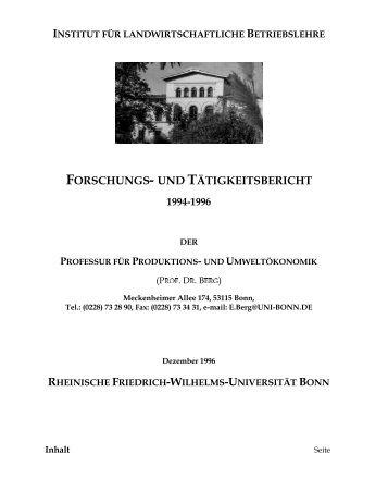FORSCHUNGS UND TbTIG.EITSBERICHT - Universität Bonn