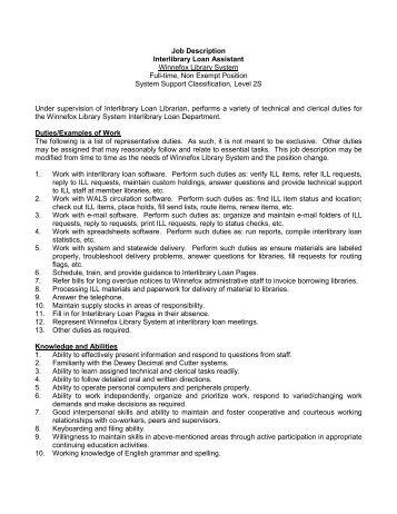 description administrative coordinator winnefox