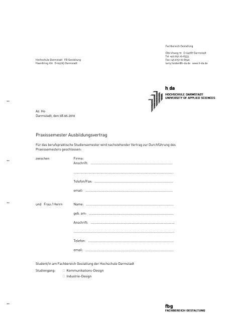 Vorlage Vertrag Praxissemester Fachbereich Gestaltung
