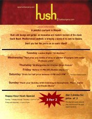 Menu - HUSH Cafe Lounge & Garden