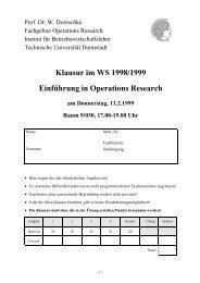 Klausur im WS 1998/1999 Einführung in Operations Research