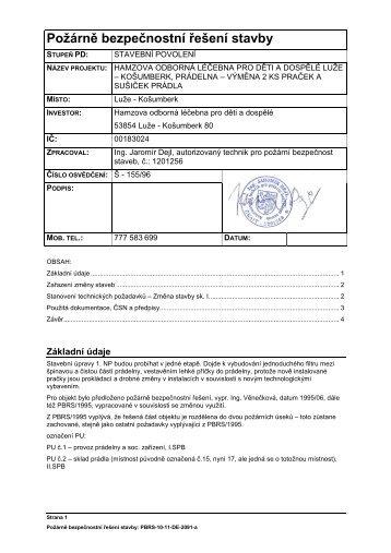 příloha č9b Požární zpráva - prádelna - Hamzova odborná léčebna