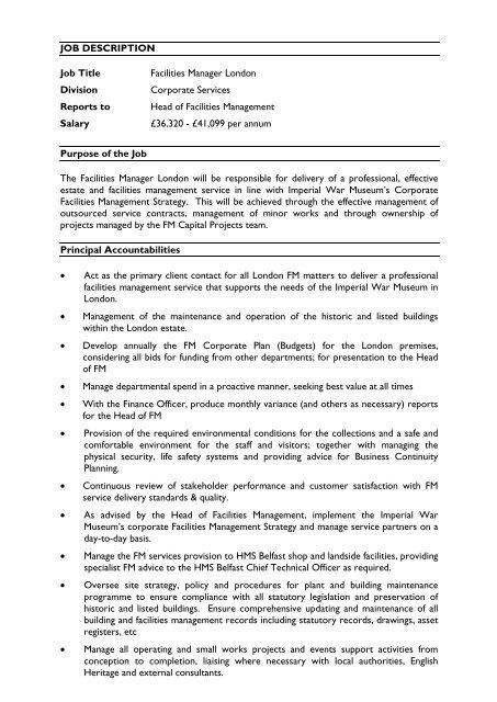 JOB DESCRIPTION Job Title Facilities Manager London Division ...